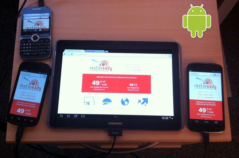 Les appareils Android du device lab