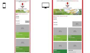 Newsletter Cuisine Radio : version mobile et version desktop