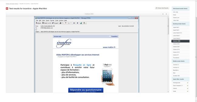 Visualisation d'un email dans différents logiciels de messagerie.