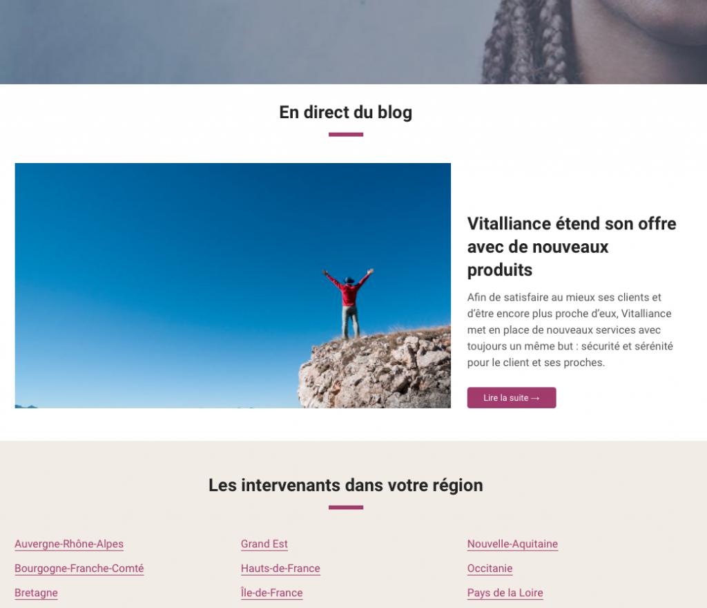 Dernier article du blog WordPress sur la home de Vitalliance