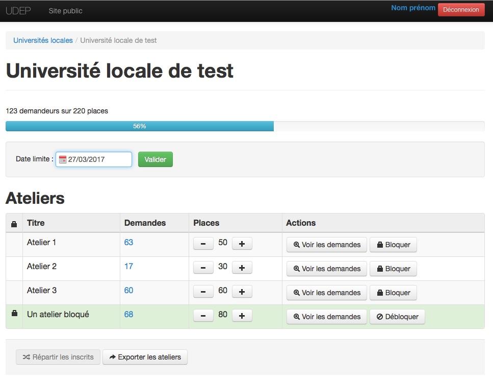 Page d'accueil de l'outil réalisé en CakePHP