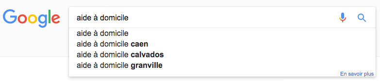 Suggestions de l'outil Google Suggest