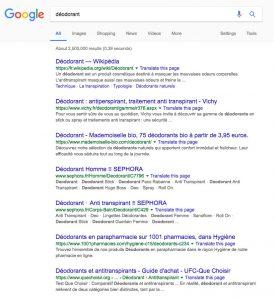 Google : résultats pour