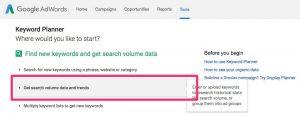 Google Adwords Keyword Planner : volumes de recherche