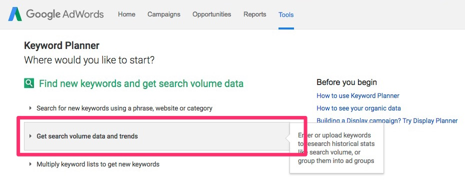 Google Adwords Keyword Planner : volumes de recherche
