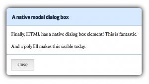 Boîte de dialogue html native