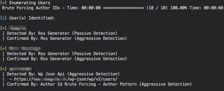 Aperçu d'une liste d'utilisateurs par WPScan