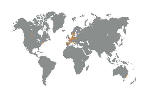 Carte du monde des pays du groupe Hamelin